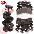 8A Brazilian Virgin Hair 2 Bundles With Lace Frontal Closure 13X6  Cheap Brazilian Unprocessed Human Hair Weave  Body Wave