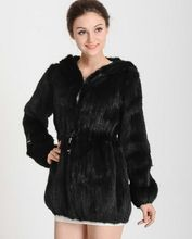 2017 New Arrival Knitted Real Mink Fur Coat Genuine Natural Hood Mink Fur Coat TopFur Brand Fashion Free shipping wan