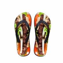 Индивидуальный заказ еда 3D печать летние пляжные сланцы для мужчин модные Beaf пицца хамбергер узор шлёпанцы для женщин мужской Hombre