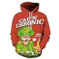 2016 Осень Забавный Свободные Негабаритных Любовника Студент Подростков Sweatershirt Пальто Новый Дед Мороз Отпечатано Пуловер Толстовка С Hat