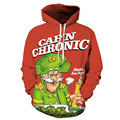 2016 Autumn Funny  Loose Oversize Lover Student Teenagers Sweatershirt Coat Newest Santa Claus Printed Pullover Hoody With Hat