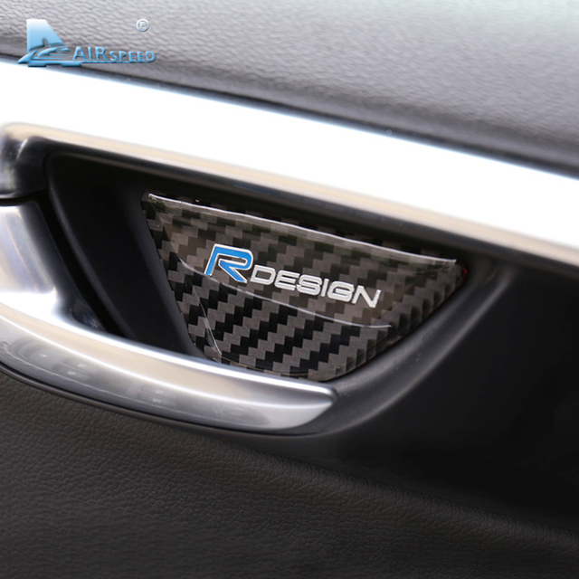 Airspeed rdesign carbon fiber car interior door handle cover for volvo xc60 v60 s60 door bowl