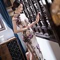 Nueva llegada de las mujeres de seda largo cheongsam estilo chino de moda dress elegante delgado Qipao Tang Ropa Tamaño S M L XL XXL F072641