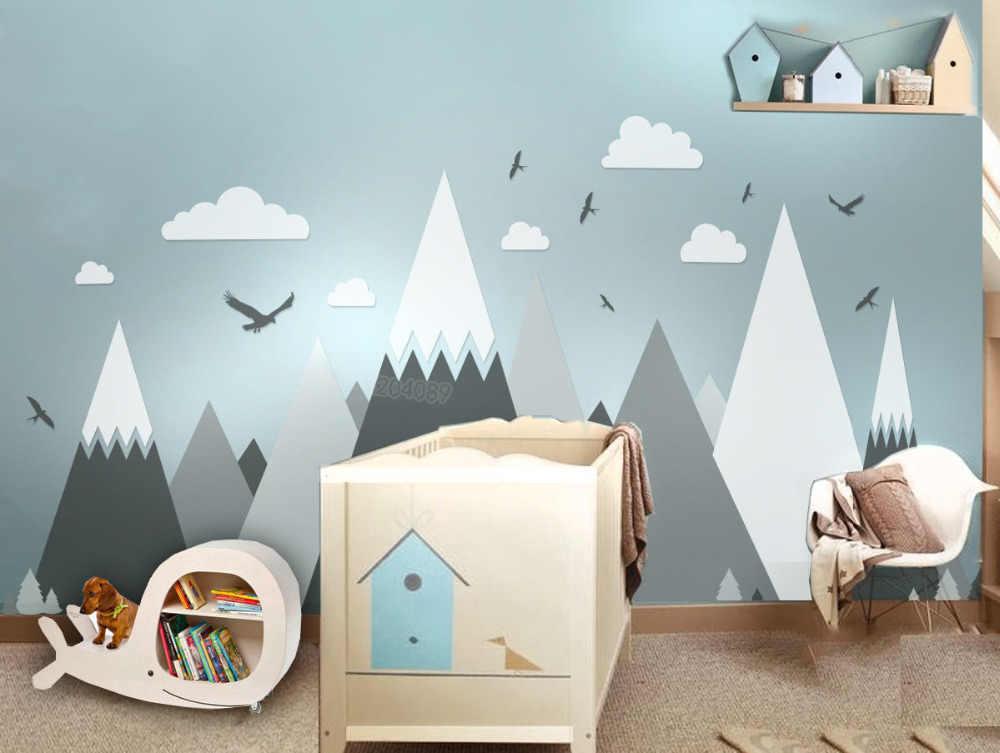 Серый Крем горы стены Стикеры домашнего декора для детей Детская комната-орлы сосны облака прекрасное искусство фрески наклейка JW373