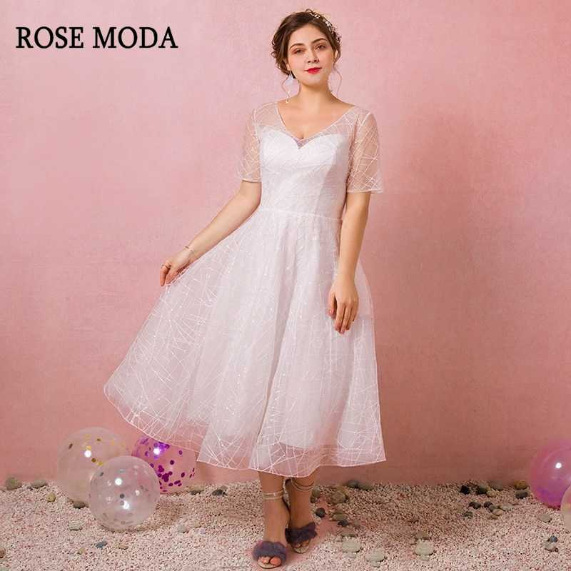 Rose Moda Boho Plus Size Wedding Dress Tea Length Lace Plus Size Wedding  Gowns with Sleeves 2019 Real Photos