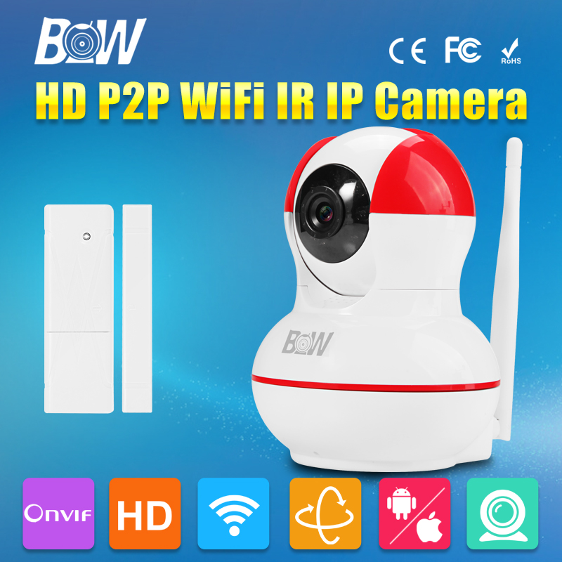 ФОТО BW Mini Dome HD 720P IP Camera + Door Sensor P2P Wireless Wifi Free OS Android Automatic Alarm System Security Surveillance CCTV