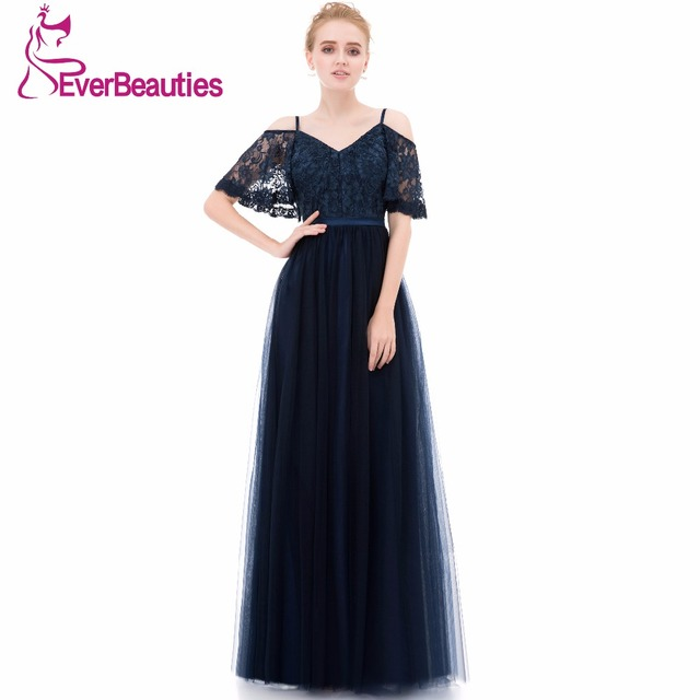 Vestido Madrinha Bridesmaid Dresses Long 2019 Tulle Lace V Neck Elegant Wedding Party Guest Dresses  with Spaghetti Straps