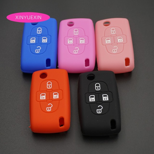 xinyuexin silicone car key cover fob case for peugeot 1007 forxinyuexin silicone car key cover fob case for peugeot 1007 for citroen c8 4buttons flip remote car key jacket wallet car styling