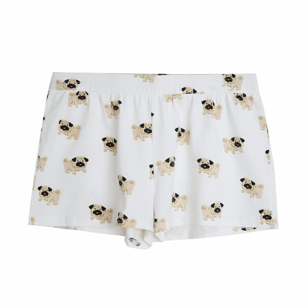 Women's Cute Pug Dog Cartoon Animal Print Shorts Loose Fit White Elastic Waist Stretchy Plus Size  Dropshipping Support! B79501J 1