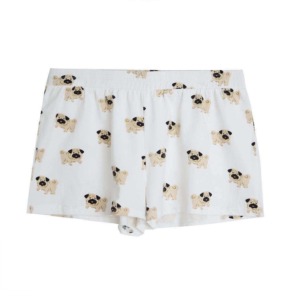 Women's Cute Pug Dog Cartoon Animal Print Shorts Loose Fit White Elastic Waist Stretchy Plus Size  Dropshipping Support! B79501J 1