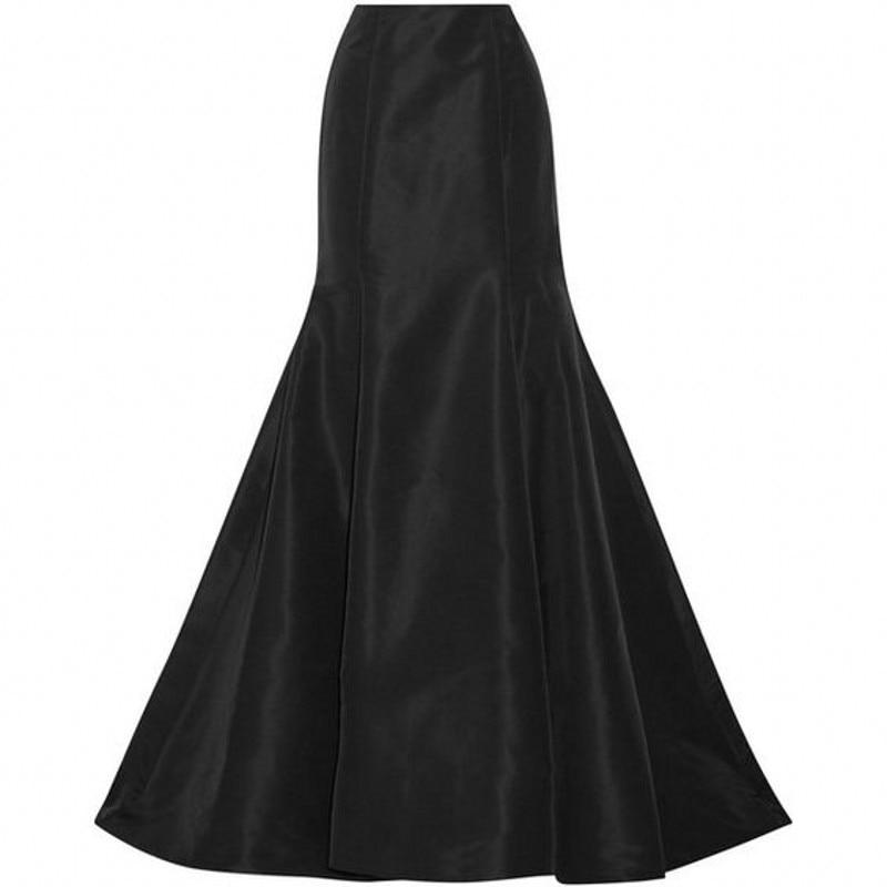 Formal Style Black Mermaid Skirt Custom Made Floor Length Full Maxi Skirt Spring Autumn Skirt Long Skirts Women
