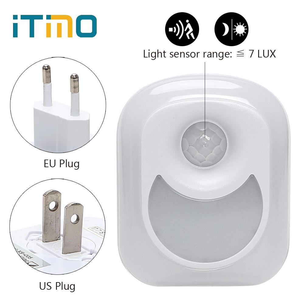 iTimo Motion Sensor Night Light EU/US Plug AC 110V/220V Baby Room Hallway Bedroom Home Human Infrared PIR Wall Lamp Lighting цена