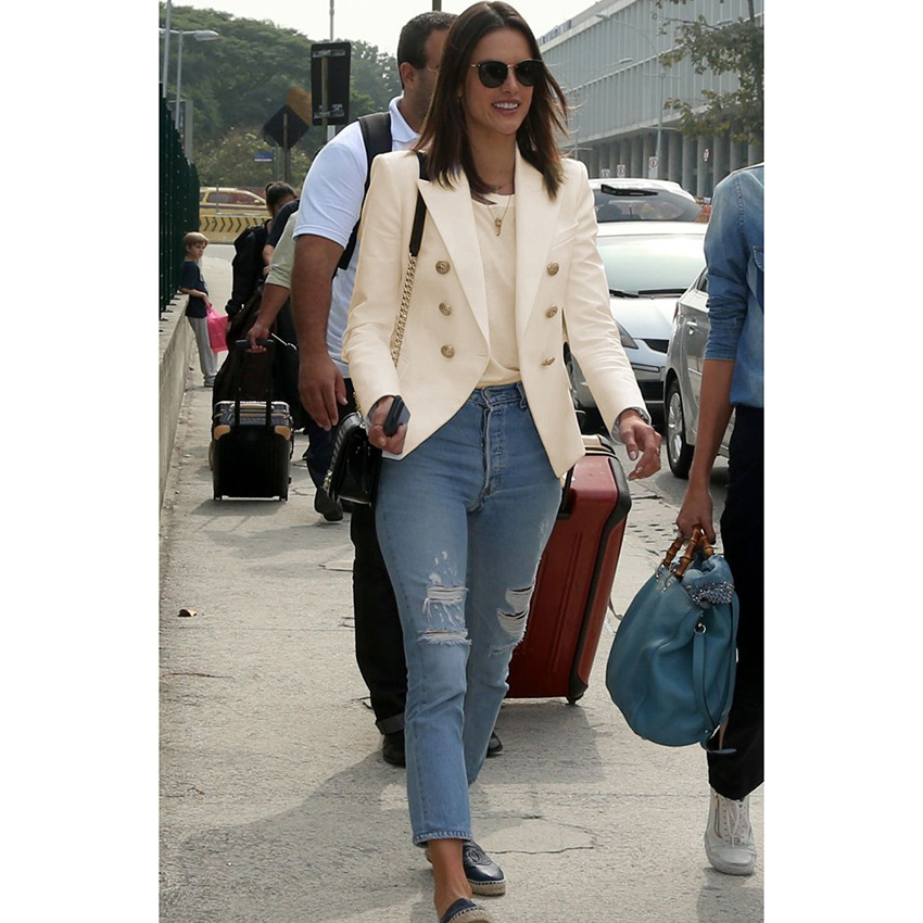 women blazers 2018 high quality star coat double-breasted small suit  white blazer  Cotton  Office Lady