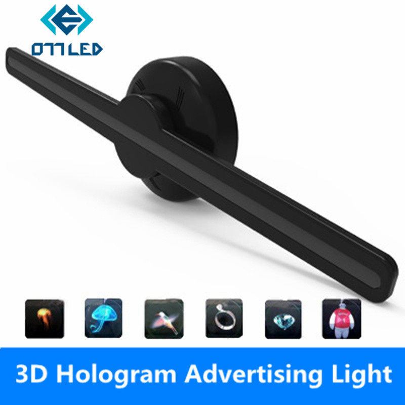 Projecteur holographique LED lecteur hologramme Portable ventilateur d'affichage holographique 3D projecteur hologramme Unique pour Logo Shop Publicidad