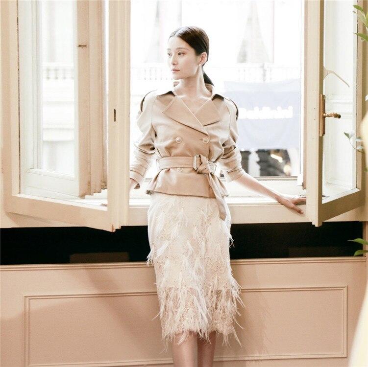 Manteau F0981 Yuanke Gland Costumes Jupes see Nouveau Blanc Recueillir Avec Pu Femelle See Chart Wang Pour Beau Chart Abricot Taille ZPkiuOXT