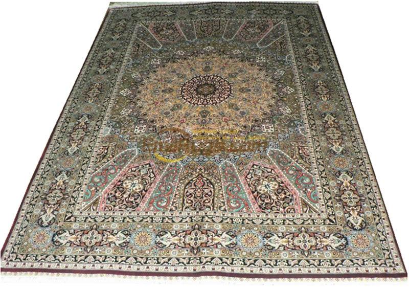 Laine ou soie persan fait main Crochet tissu d'ameublement maison pour salon laine tricot tapis Antique tapis