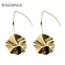 WNGMNGL 2018 New Femmes Earrings Vintage Simple Gold Sliver Color Flower Drop Dangle For Women Charm Fashion Jewelry