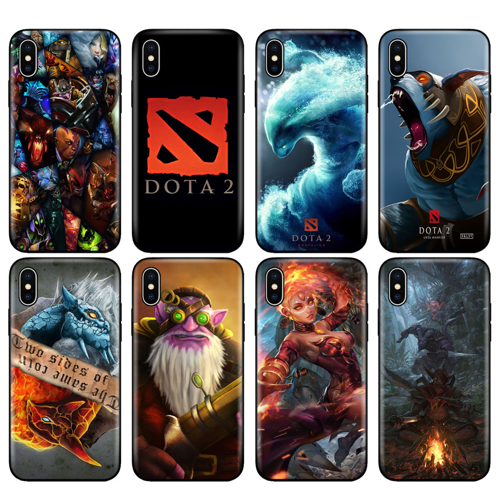 Black tpu case for iphone 5 5s se 6 6s 7 8 plus x 10 case silicone cover for iphone XR XS 11 pro MAX case dota 2