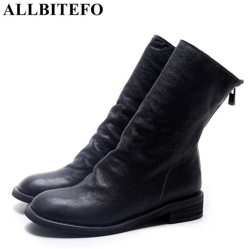 ALLBITEFO full genuine leather thick heel women boots brand low-heeled platform ankle martin boots woman fashion girls shoes цена 2017