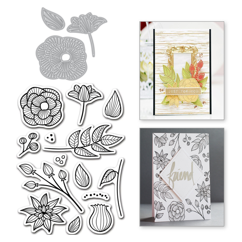 Plants Flower Scrapbooking Metal Cutting Dies for Card Making Decorative Stencil