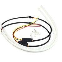 Hot 2PCS LOT Factory Price Strong Power 60CM White Amber LED Daylight Running Light Flexible LED