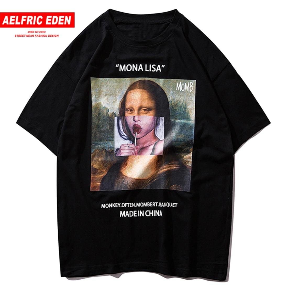Eden Aelfric Hip Hop Engraçado Mona Lisa T Shirt Dos Homens do Algodão Moda Streetwear Harajuku Camiseta Manga Curta Tops Tees Hipster dos ganhos