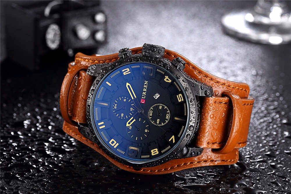HTB1QNDwOgHqK1RjSZFPq6AwapXaT CURREN Top Brand Luxury Men Watches Male Fashion & Casual Sport Military Clock Leather Strap Quartz Business Men Watch Gift 8225