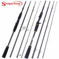 Sougayilang Portable Lure Fishing Rod 2.1M 2.4M 4 Section 24T Carbon Rod 10-30g Casting Spinning Travel Rod Carp Fishing Tackle