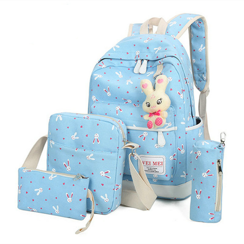 Fashion Women Backpack Cute Rabbit Printing Backpack School Bags For Teenagers Mochila Escolar
