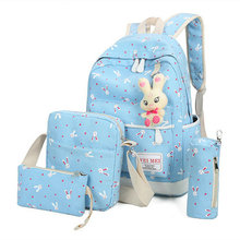 Модные женские туфли рюкзак милый кролик печати рюкзак Школьные сумки для подростков Mochila Escolar