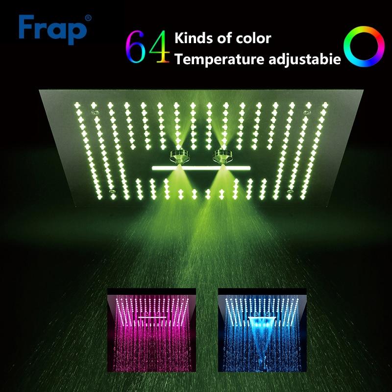 Frap Shower Head Decorable Led Light Bathroom Shower Head Square Rainfall Shower Panel Remote Control Y018 Lustrous Surface