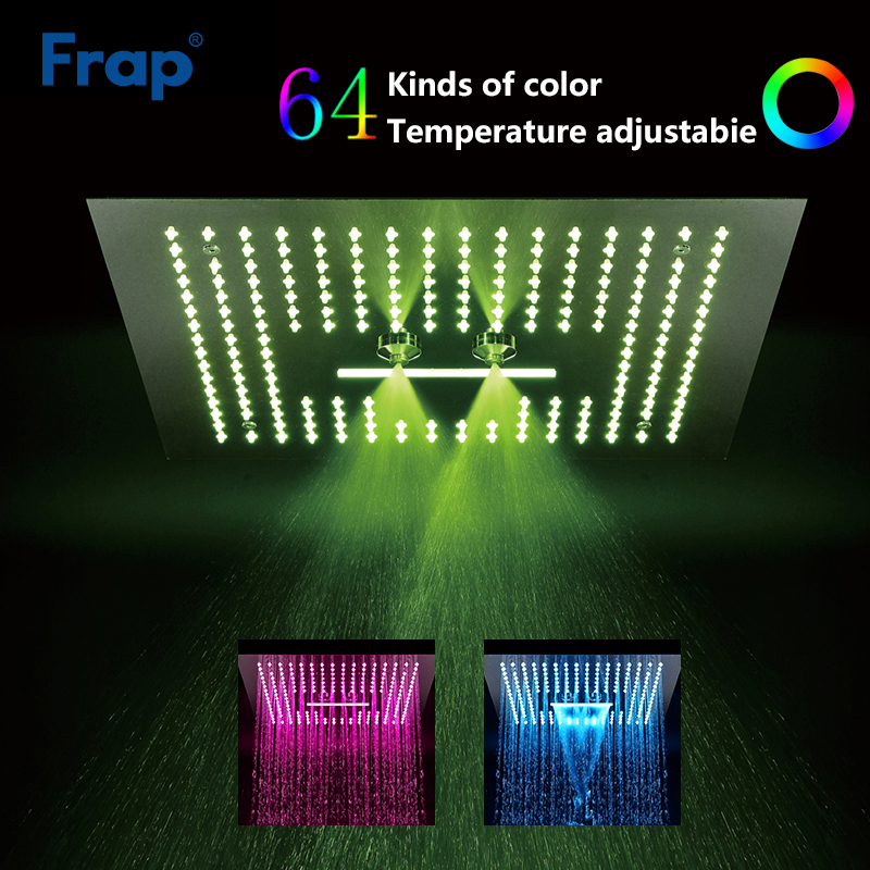 Frap Shower Head decorable LED light bathroom shower head square rainfall shower panel remote control Y018