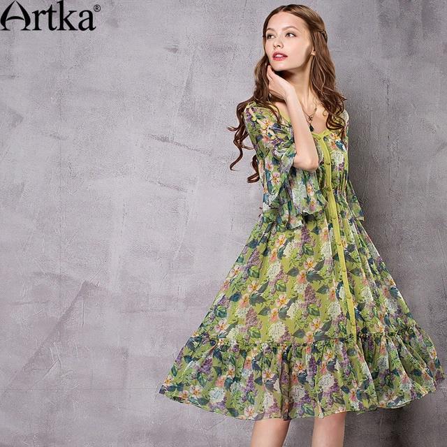 30d47cc7ab Artka Women's 2018 Summer Floral printed Chiffon Ruffled Dress Vintage  V-Neck Butterfly Sleeve Empire Waist Dress LA12672X