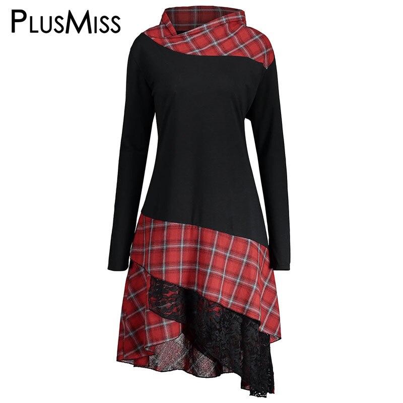 PlusMiss Plus Size 5XL Vintage Lace Plaid Panel Tunic Long Top Women Autumn 2017 Long Sleeve Asymmetrical   Blouse     Shirt   Big Size