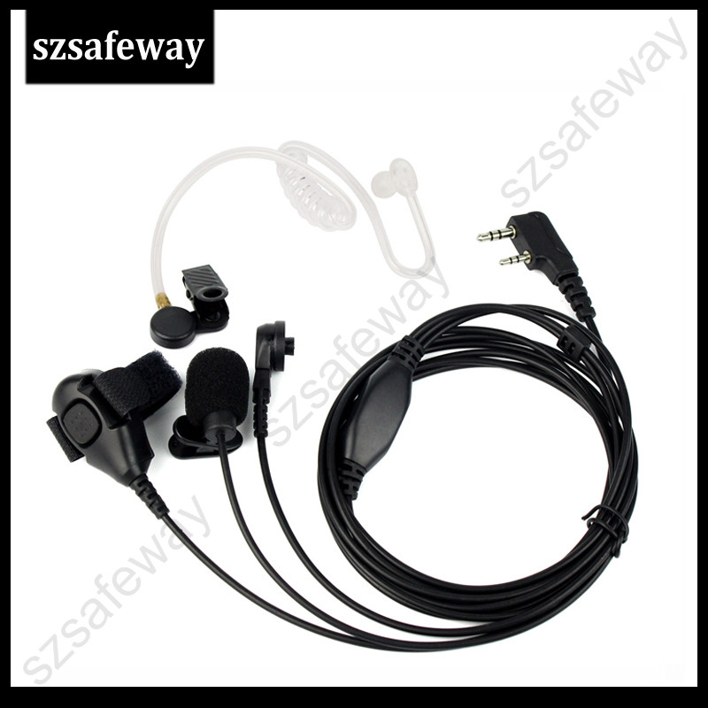3 Wire Two Way Radio Surveillance Kit Earpiece Acoustic Tube Earphone Mic Headset For Kenwood For Baofeng UV-5R
