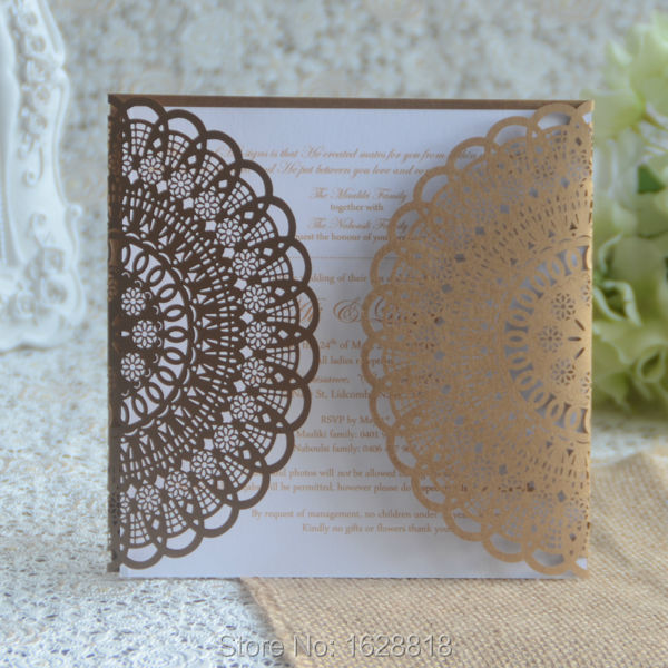 red leaves company lace muslim wedding invitations elegant event