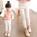 Girls Korean Waist Trousers Pearl Spring New Princess Wind Children Pants Kids Trousers White Green Pink