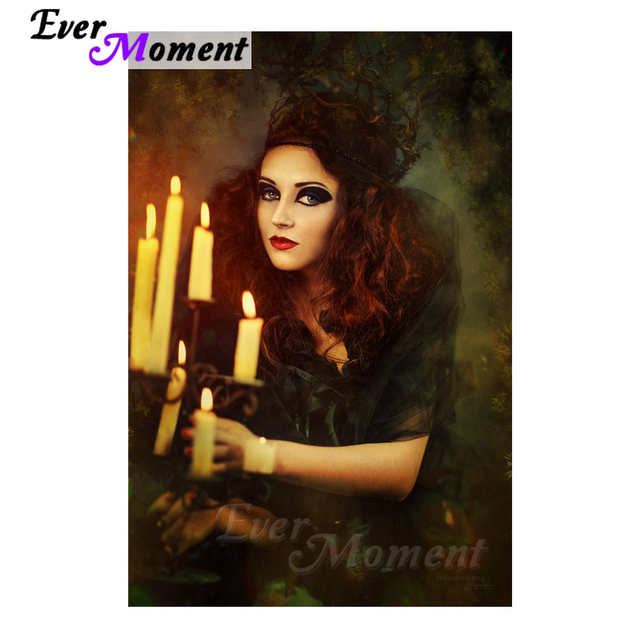 Ever Moment Diamond Painting Woman Candle Full Square Drill 5D DIY Diamond Embroidery Decoration For Home Cross Stitch S2F445