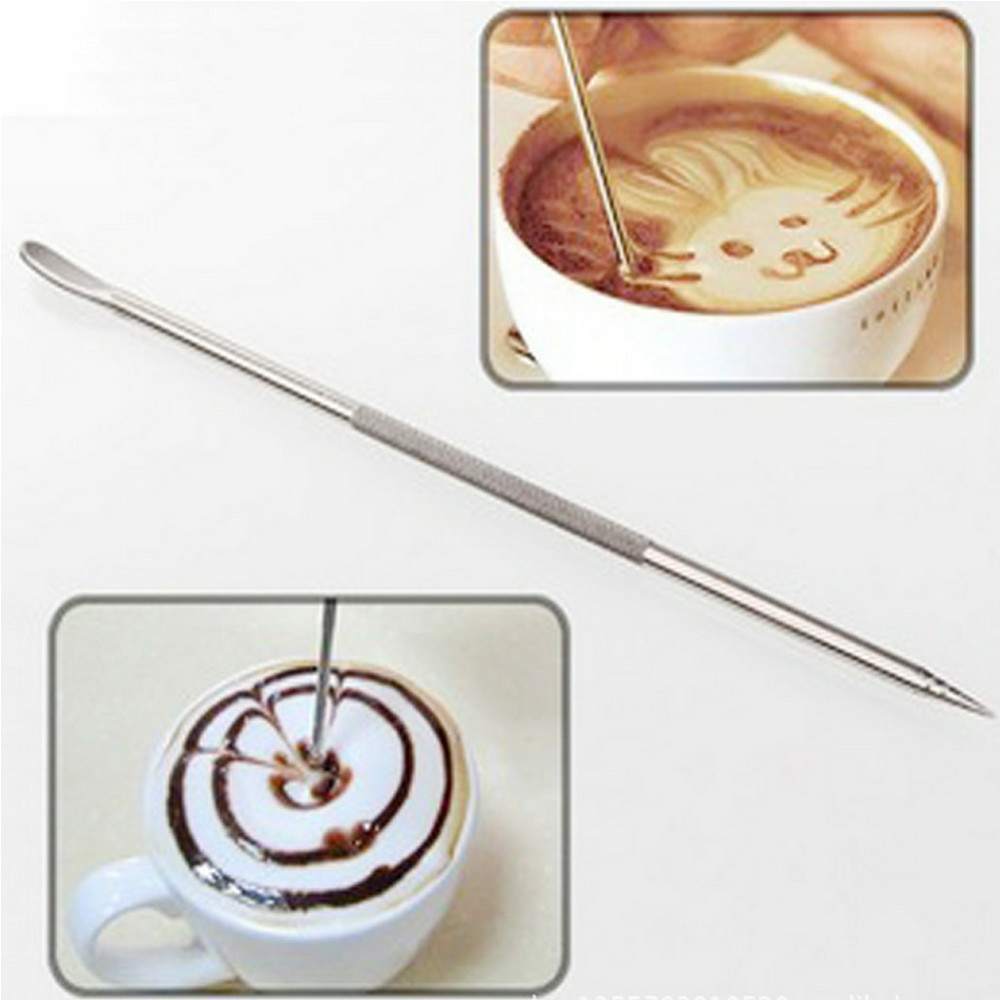 Useful Coffee Latte Art Pen Stainless Steel Tool Espresso Machine Cafe