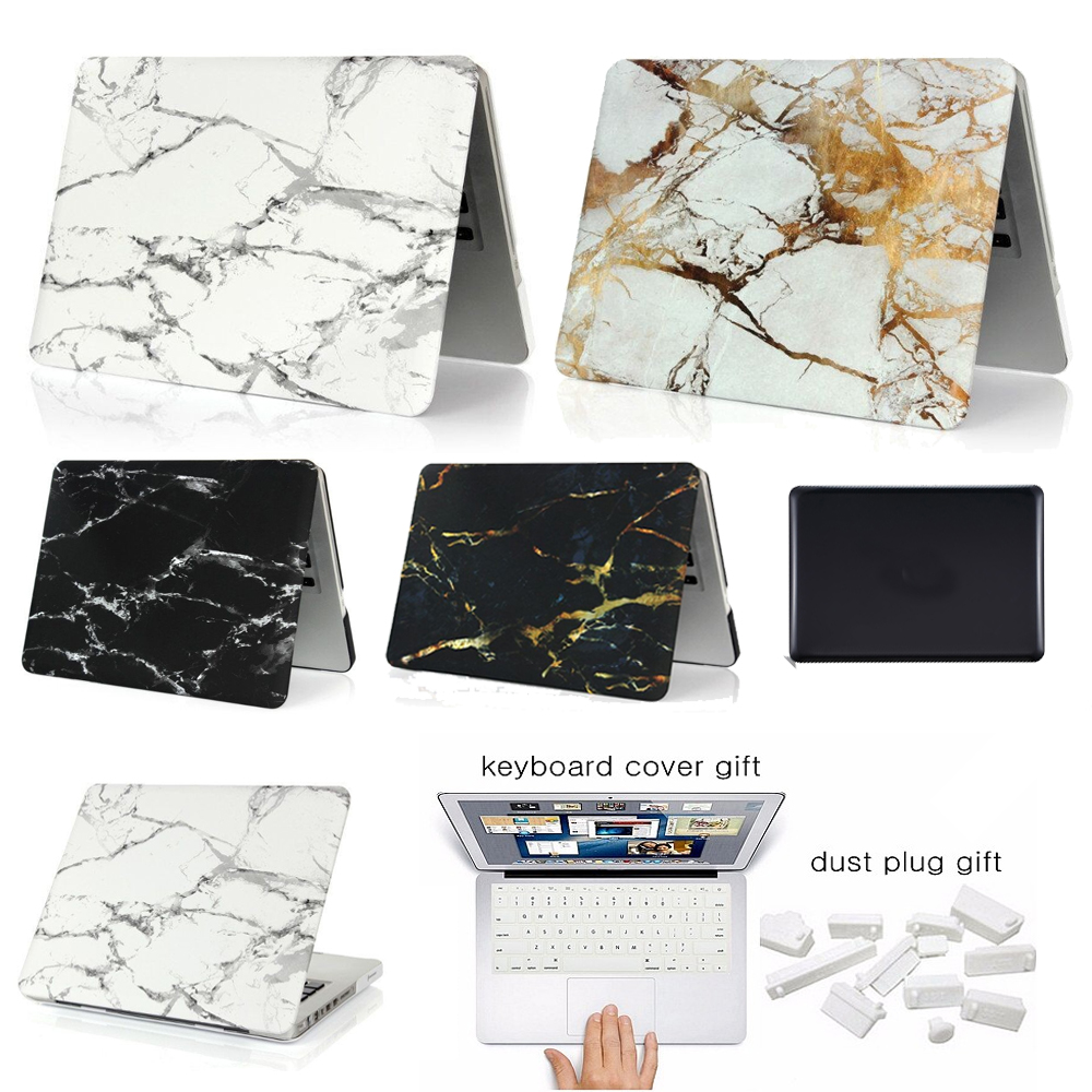 все цены на New For Macbook Air Pro Retina 11 12 13 15 Laptop Case Marble Stone PC For Macbook Air 13 Case Pro 13 Laptop Case Keyboard Cover онлайн