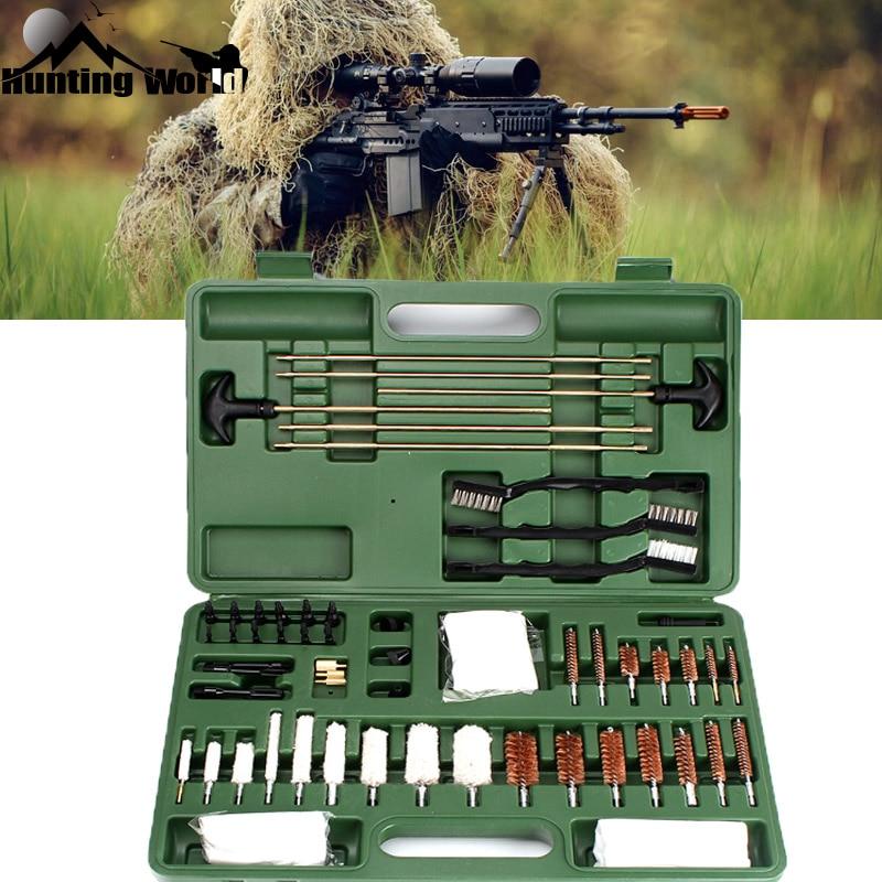 Tactique Gun Fusil De Nettoyage kits 62 pcs Shot gun Pistolet Arme de Poing Cleaner set avec Coton Cuivre Brosse Carry Case Box pour La Chasse