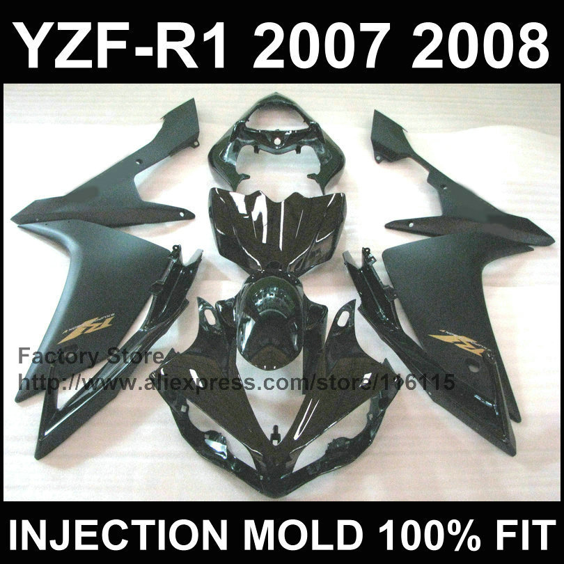 7 gifts free motorcycle injection ABS factory fairings kits for YAMAHA YZFR1 2007 2008 YZF R1 07 08 matte black fairing parts aftermarket free shipping motorcycle parts eliminator tidy tail for 2006 2007 2008 fz6 fazer 2007 2008b lack