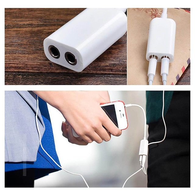 1PC 3.5mm White Double Earphone Headphone Y Splitter Cable Cord Adapter Jack Plug Audio Cable Cellphone Accessories 1