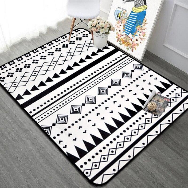 100*150 cm Style nordique tapis géométrique noir blanc rayé Rectangle tapis salon chambre salle de bains ordinateur chaise tapis de sol