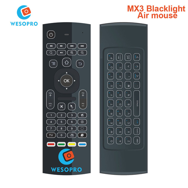 WESOPRO MX3 Backlight 2.4G Wireless Keyboard Controller Remote Control Air Mouse for Smart Android TV Box mini PC HTPC Projector