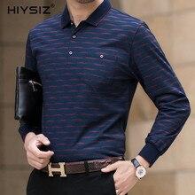 HIYSIZ 2019 T-Shirt Men Autumn Winter Tops Brand Casual Streetwear Striped Long Sleeves Turn-down Collar Tees Fashion LT020