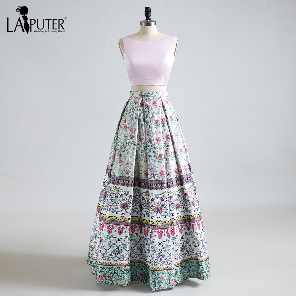 2017 New Two Pieces Floral Prom Dresses