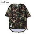 Curva Dobladillo de gran tamaño Camuflaje Hip Hop Camiseta de Manga Corta 2017 Verano Flojo Estilo Extendido Para Hombre Camisetas Hombre Camiseta