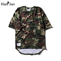 Oversized Curve Hem Camouflage Hip Hop T-shirt Short Sleeve 2017 Summer Loose Style Extended Mens Tshirts Man Tee Shirt