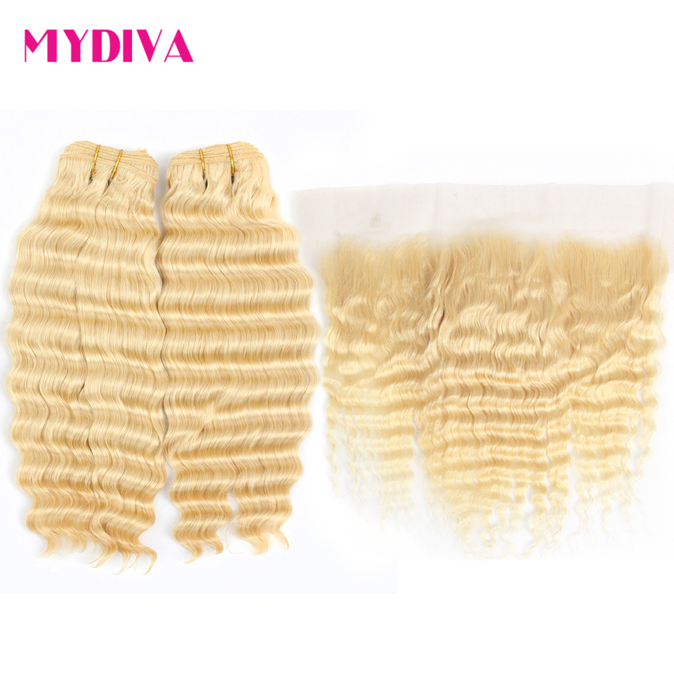 613 Blonde Bundles With Frontal Closure Peruvian Deep Wave 2 Bundles With Frontal 613 Frontal With Bundles Remy Hair Mydiva image